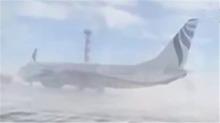 强风来袭 波音737原地打转