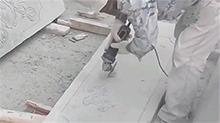 用切割机在石板上雕花 栩栩如生