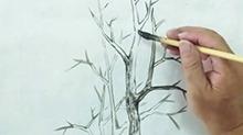 5068网国画课程第31期:树木——单勾线介字夹叶法