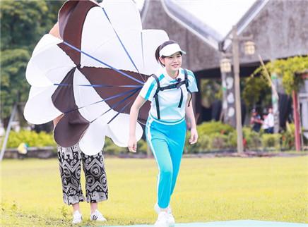 陈妍希展现跳远绝技